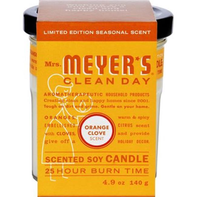 Mrs. Meyers 0125401 4.9 oz Soy Candle, Orange Clove - Case of 6