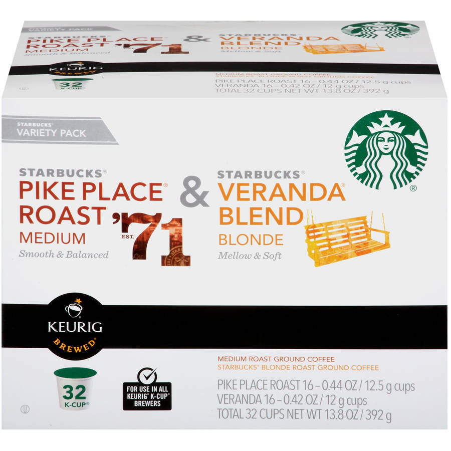 Starbucks Coffee Co. Pike Place Roast & Veranda Blend Blonde Variety Pack K-Cups, 32 count