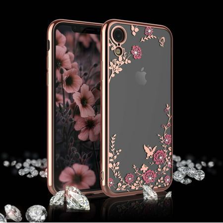 Sparkle Hard Case (iPhone XR Case, Case For 2018 iPhone XR, iPhone XR Cute Case, Njjex Clear Flower Floral Shock Absorption Bling Glitter Sparkle Hard Slim Case TPU Bumper Protective Cover For 2018 6.1