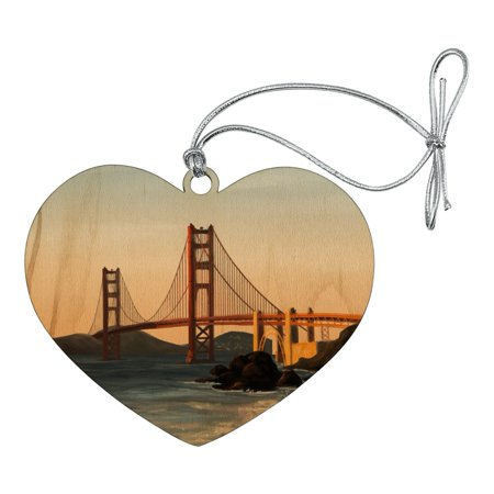Golden Gate Bridge San Francisco Heart Love Wood Christmas Tree Holiday Ornament