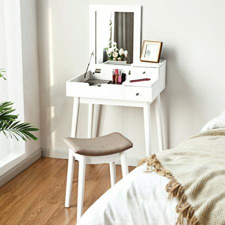 Costway Vanity Dressing Table Set Flip Mirror Desk Furniture Stool W/ 2 Drawer White - image 8 of 10