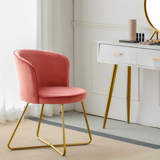 Duhome Chic Accent Chair For Small Space Living Room With Arm Home Office Chair Modern Golden Frame Legs Velvet Padded Seat Easy Assembly Pink Walmart Com Walmart Com