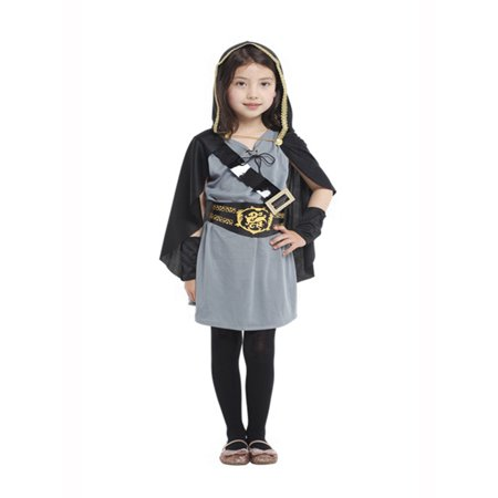 Girls Huntress Costume (Little Girls Hooded Huntress Halloween Costume Party Dress (M/4-6 Years, Hooded)
