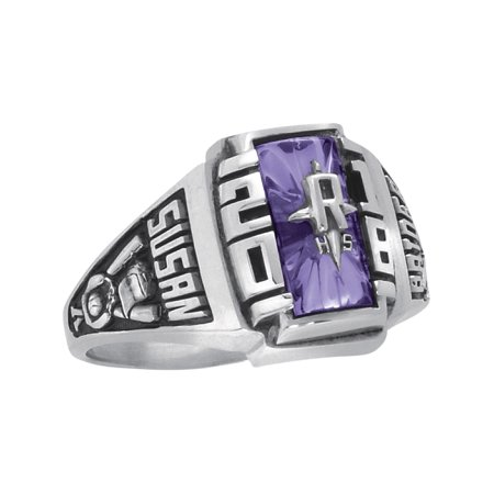 Personalized Women's Crest Class Ring available in Valadium, Yellow and White Gold
