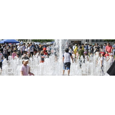 Children playing in water sculpture at Seoul City Hall Park Seoul South Korea Stretched Canvas - Panoramic Images (27 x - City Park Kids Furniture