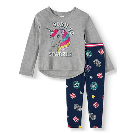 365 Kids From Garanimals Girls' Long Sleeve Graphic Top & Legging, 2-Piece Outfit Set (Little Girls & Big
