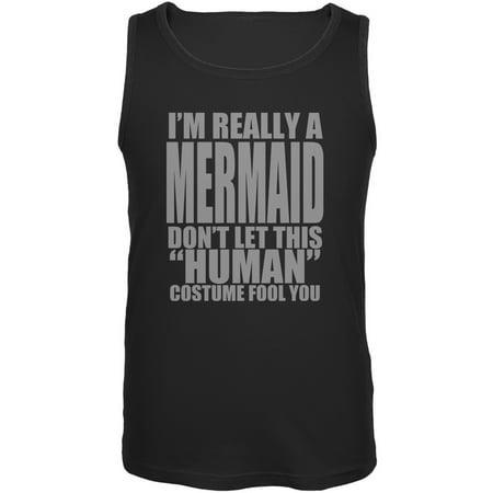 Halloween Human Mermaid Costume Black Adult Tank Top