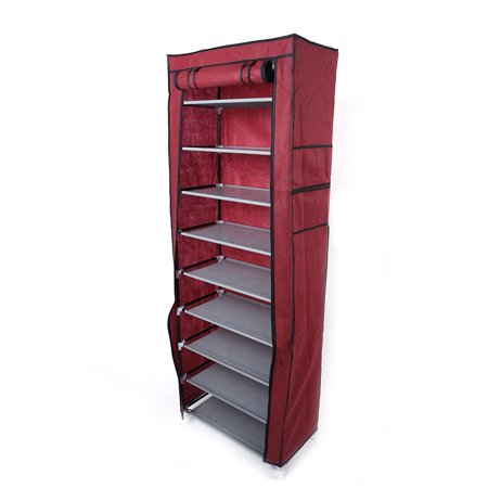9 Lattices Shoe Rack - Easy Assembled Non-woven Fabric Shoe Tower Stand - Sturdy Shelf Storage Organizer Cabinet Shelf Wine Red ()