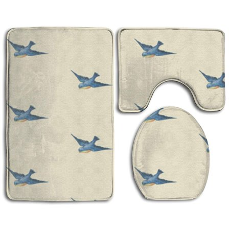 Gohao Blue Vintage Birds 3 Piece Bathroom Rugs Set Bath