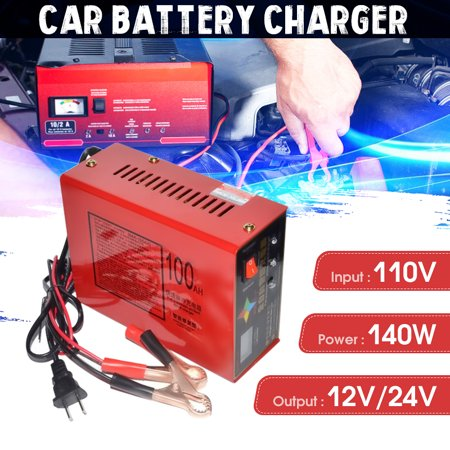 New 110V carbatterycharger Full Automatic Intelligent Electric Car Emergency Charger Lead Acid Battery Charger 12V/24V