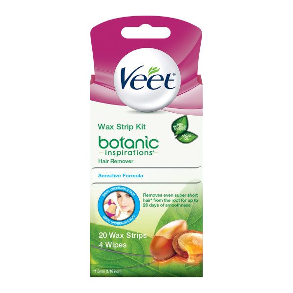 Veet Botanic Inspirations Wax Strip Kit, 20 Count, for Bikini, Underarm, Face