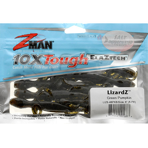"Z-Man LizardZ 6"" Soft Baits, Green Pumpkin, 46-Pack"