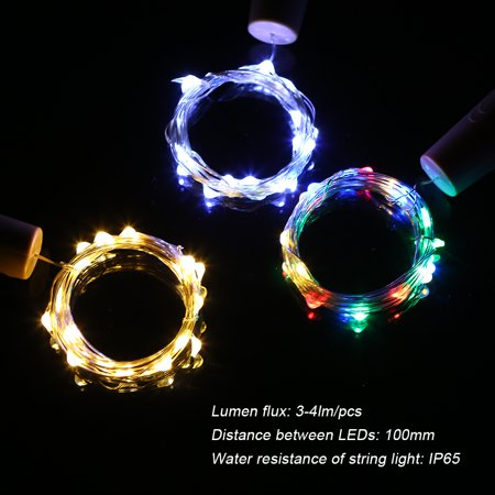 4.5V 1.2W 2Meters 20 LED Copper Wire Fairy String Light Warm White Twistable Bendable Foldable Bottle Stopper Atmosphere Lamp IP65 Water Resistance for Christmas Xmas Holiday Festival DIY Home Party