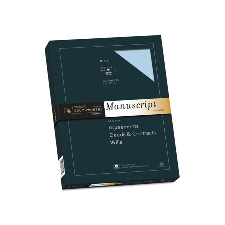 "Branded The Southworth 25% Cotton Blue Manuscript Paper, 9"" x 12.5"", 30 lb. Cover Weight, Blue, 100 Sheets Pack of 1 [Qty Discount / wholesale price]"