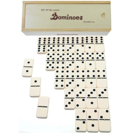 Dominoes Jumbo Tournament Off-White color with Black Pips _ Double Six Set of 28 _With Brass Spinners - image 1 of 1