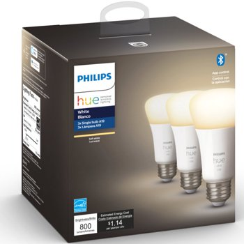 3-Pack Philips Hue 60W White Bluetooth Smart LED Bulbs