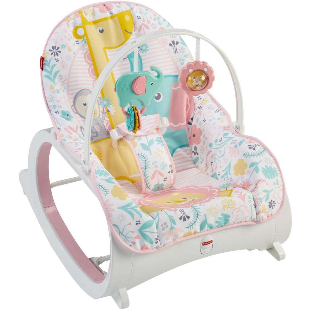 Fisher-Price Infant-To-Toddler Rocker, Pastel Pink with Removable Bar