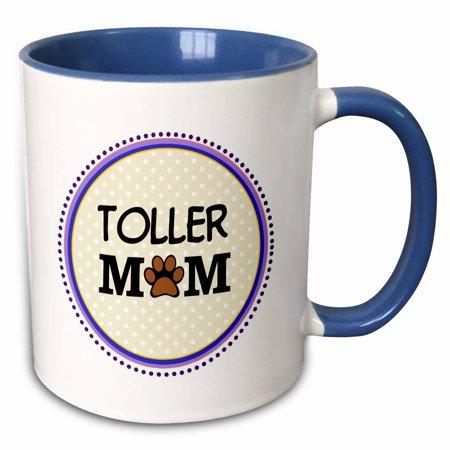 3dRose Toller Dog Mom - Nova Scotia Duck Tolling Retriever - Doggie mama by breed - pawprint doggy love - Two Tone Blue Mug, 11-ounce