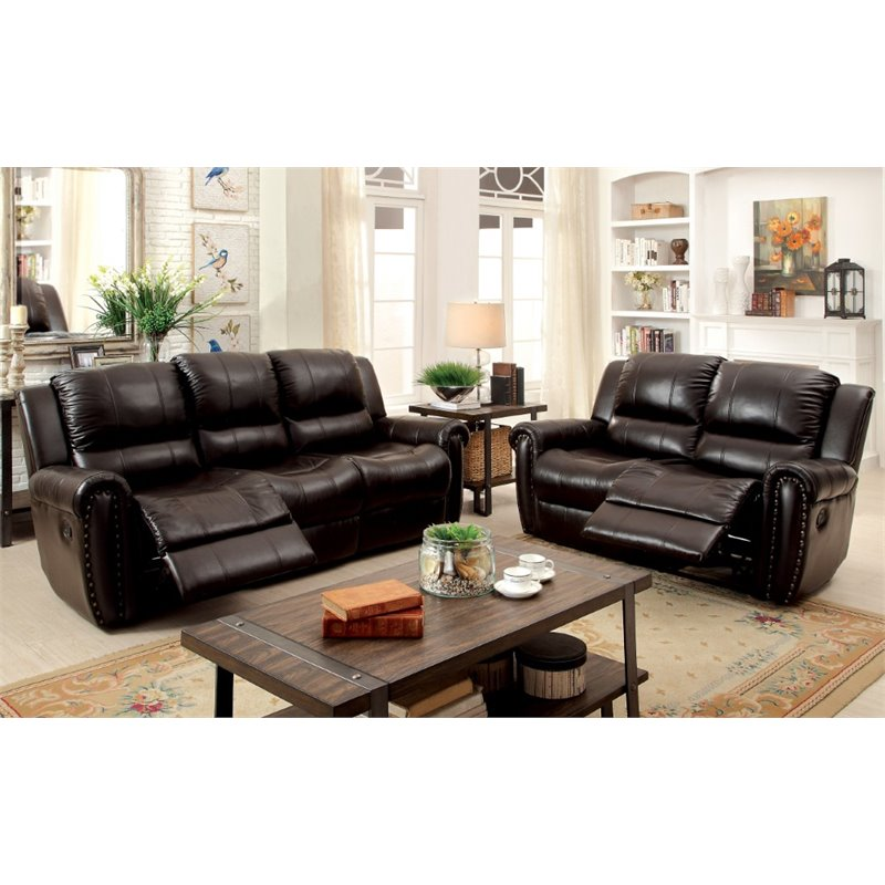 Furniture of America Solorio 2 Piece Grain Leather Reclining Sofa Set