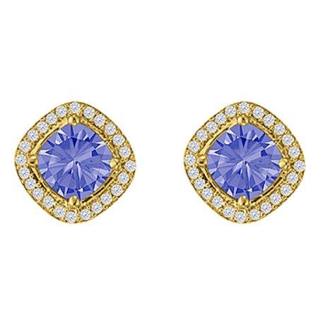 Square Tanzanite CZ Halo Earrings Rhombus Gold Vermeil - image 1 de 2