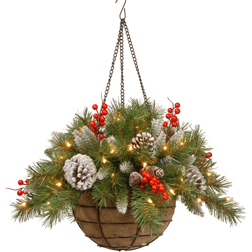 """National Tree 20"""" Frosted Berry Hanging Basket with Cones, Red Berries and 50 Warm White LED Battery Operated Lights with Timer"""