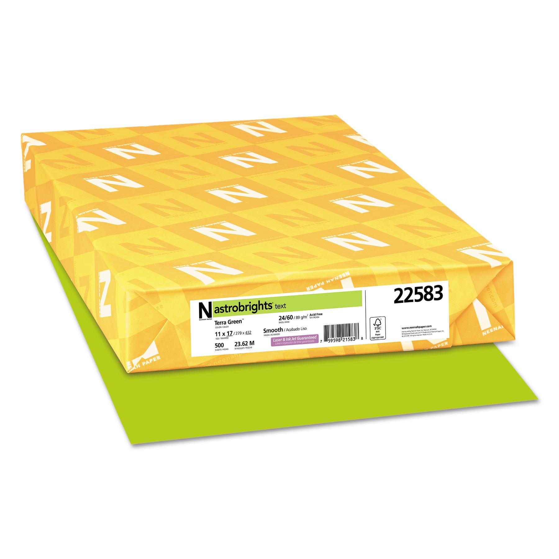 Astrobrights Color Paper, 24lb, 11 x 17, Terra Green, 500 Sheets