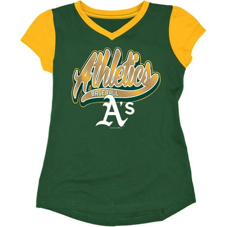 MLB Oakland Athletics Girls Short Sleeve Team Color Graphic Tee