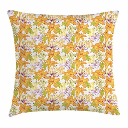 Floral Throw Pillow Cushion Cover, Giant Lily Flowering Petals Exotic Blooms Hawaiian Bouquet Beauty, Decorative Square Accent Pillow Case, 18 X 18 Inches, Violet Marigold Apple Green, by Ambesonne