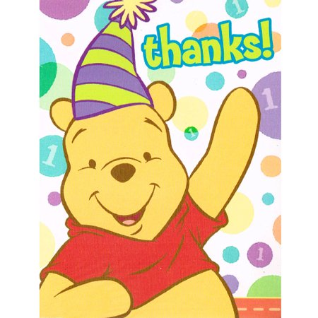 Winnie the Pooh Boy or Girl 1st Birthday Thank You Notes w/ Env. (Pooh First Birthday Girl)