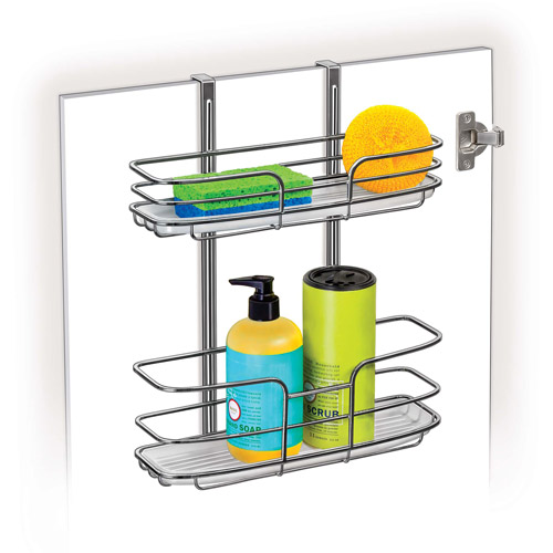 Lynk Over-The-Cabinet Door Organizer Double Shelf with Molded Tray, Platinum