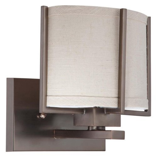 Nuvo 60/4041 Portia ES - 1 Light Vanity w/ Khaki Fabric Shade - (1) 13w GU24 Lamp Included