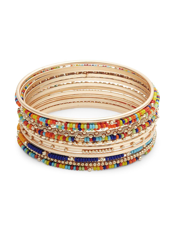 Set of 12 Goldtone and Crystal Beaded Bangle Bracelets