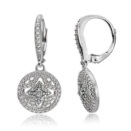 Silver Diamond Accent Filigree Dangle Earrings