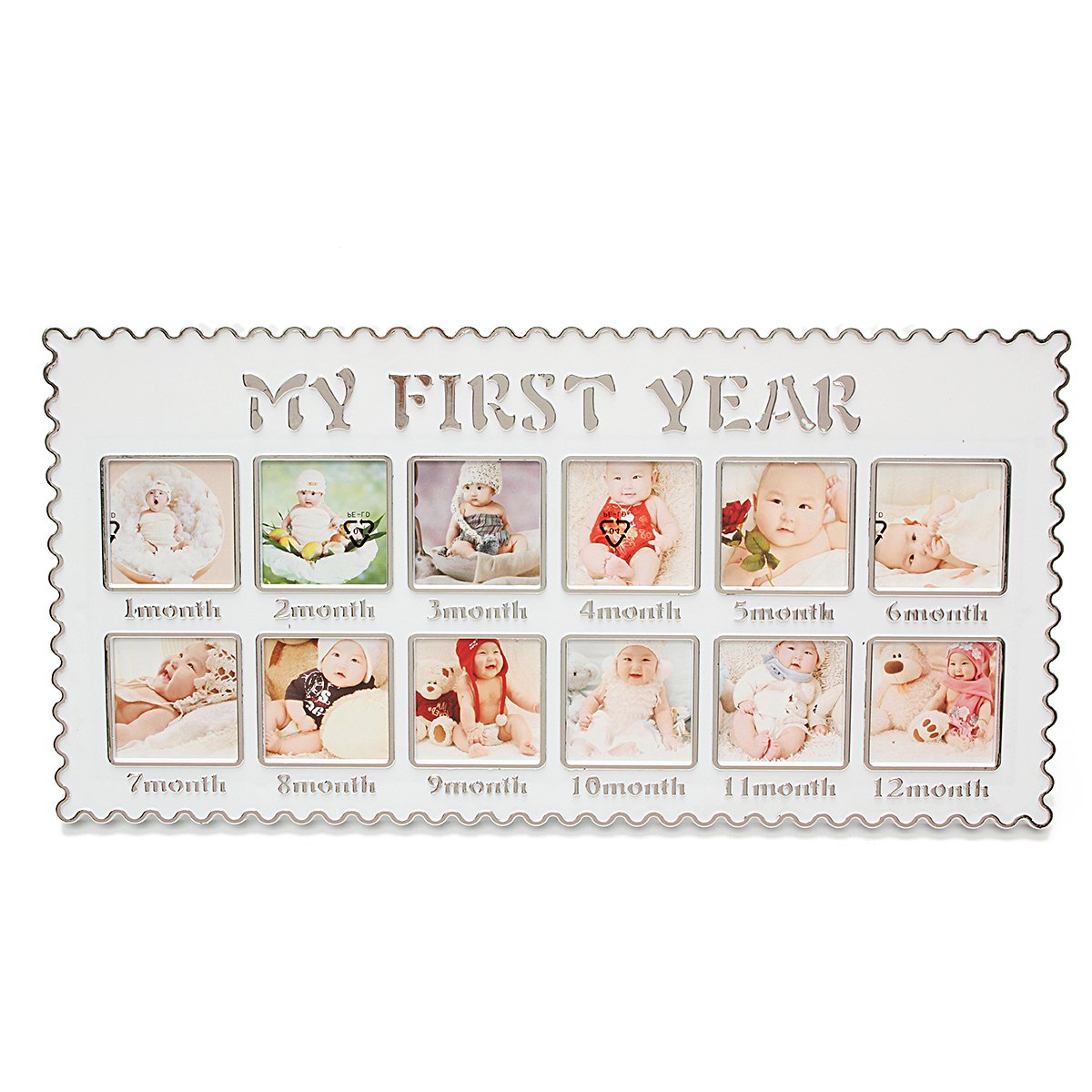 Baby First Year 12 Month Baby Picture Photo Frame – Capture Birth to First Birthday – Mother's Day Gift Unisex Keepsake Photo Collage Holds Infant Photographs