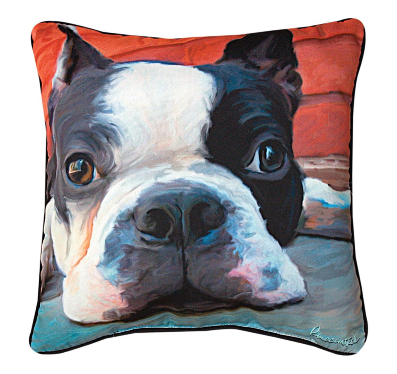 "18"" Robert McClintock ""Moxley Boston Terrier"" Square Throw Pillow"