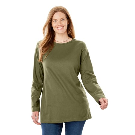 - Plus Size Crewneck Long Sleeve Perfect Tee