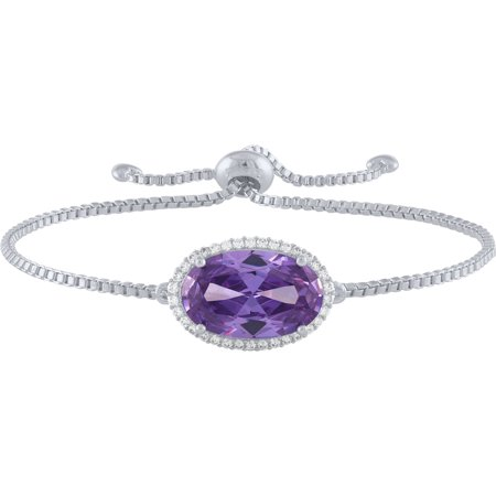 Sterling Silver Plated Simulated Amethyst and CZ Oval Adjustable Bracelet