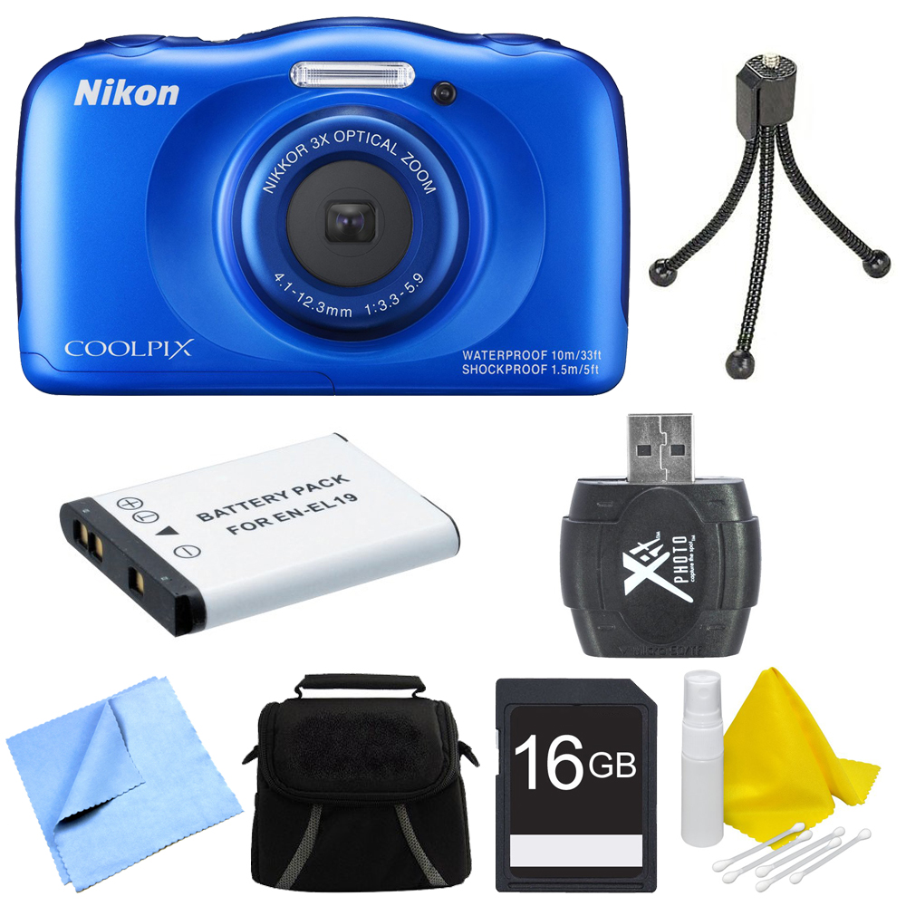 Nikon COOLPIX S33 13.2MP Waterproof Shockproof Digital Camera Blue Deluxe 16GB Bundle - Includes Camera, Card Reader, Gadget Bag, 16GB Memory Card, Battery, Mini Tripod and More
