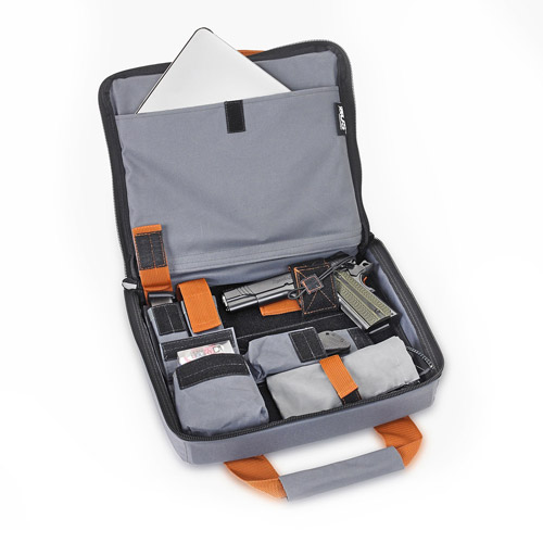 US Peacekeepers INCOG Tablet/Gun Case, Battleship Grey/Rust