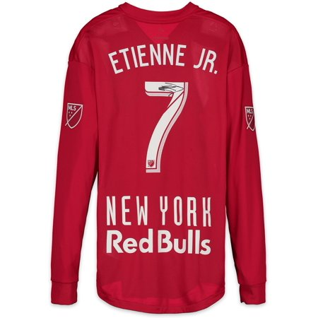 James Autographed Red Custom Jersey - Derrick Etienne Jr. New York Red Bulls Autographed Match-Used Red #7 Jersey vs. Portland Timbers on March 10, 2018 - Fanatics Authentic Certified