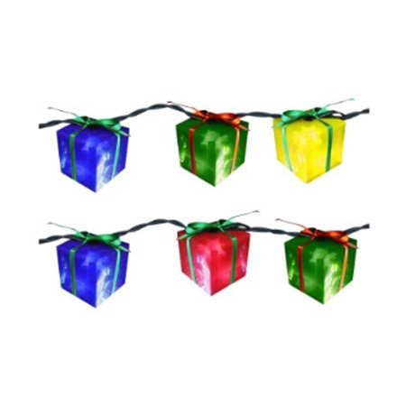 Set of 10 Brightly Colored Gift Box Novelty Christmas Lights - White Wire