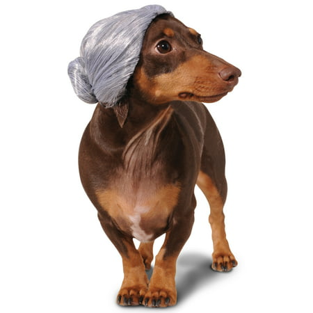 Old Lady Grandma Granny Mom Grey Bun Pet Dog Cat Costume Wig - Couples Halloween Costumes Hot Dog And Bun