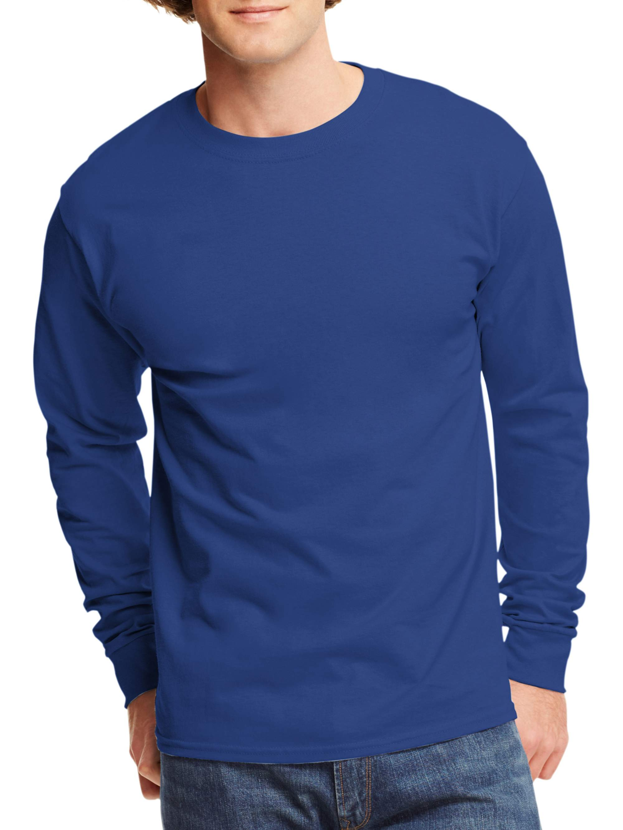 b6dbb4ed2e11e3 Hanes - Mens Tagless Cotton Crew Neck Long-Sleeve Tshirt - Walmart.com