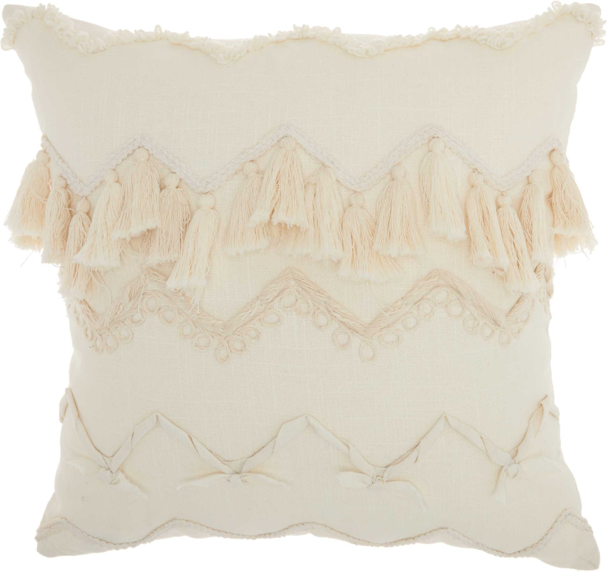Nourison Life Styles Chevron Textures Ivory Throw Pillow