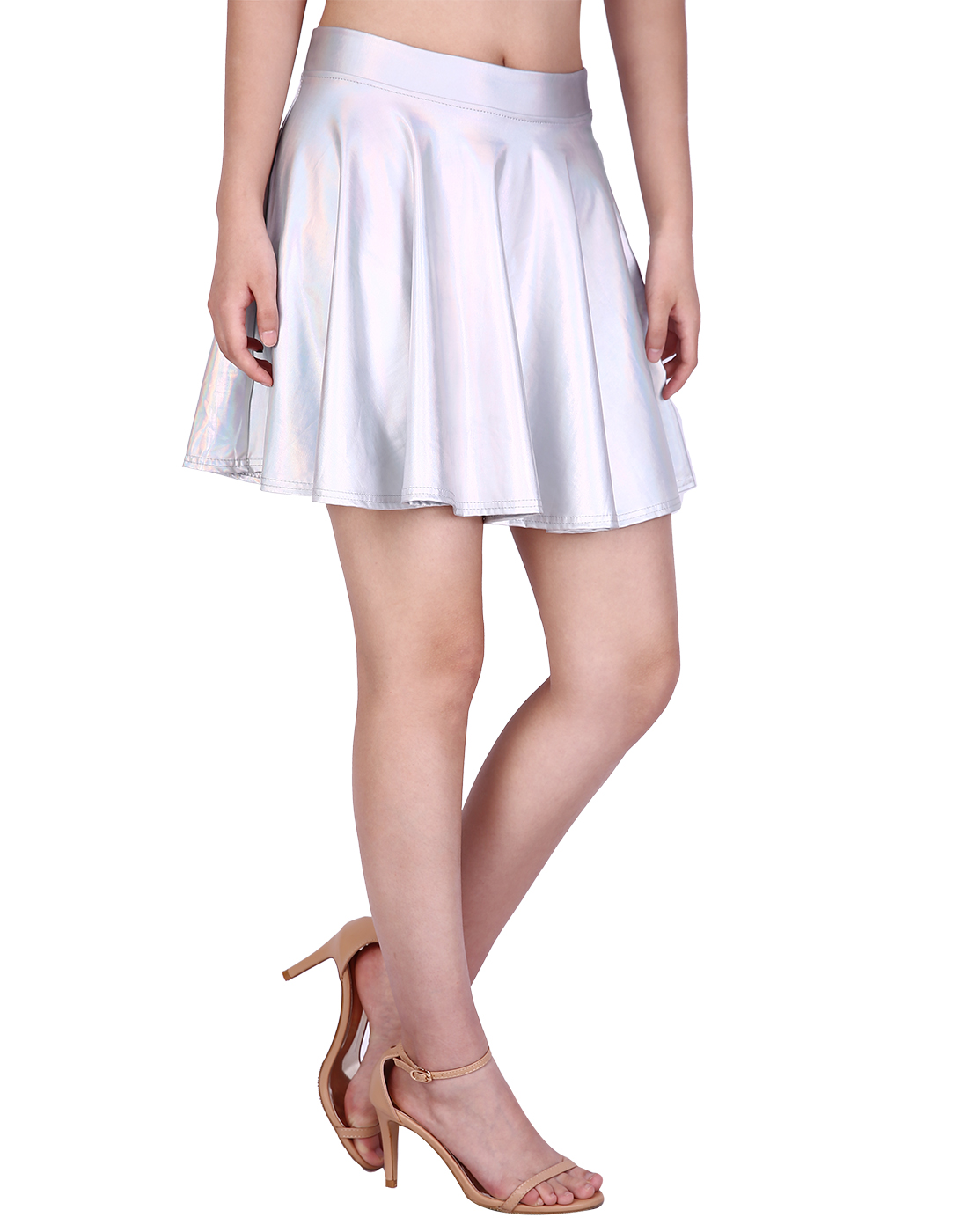 1565ecab271e4 HDE Women s Casual Fashion Flared Pleated A-Line Circle Skater Skirt  (Holographic