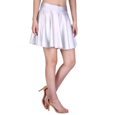 b0aa7a87f87d1 HDE Women's Casual Fashion Flared Pleated A-Line Circle Skater Skirt  (Holographic, ...