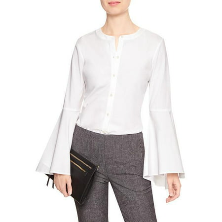 New  4493-2 Banana Republic Womens Tailored Bell-Sleeve Shirt (White, 6, $64.99) Banana Republic Long Sleeve Shirt