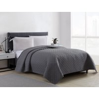 Mainstays Ultra Soft Solid Basketweave Grey Quilt Bedding Collection