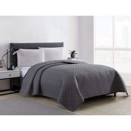 Mainstays Ultra Soft Solid Basketweave Grey King Quilt ()