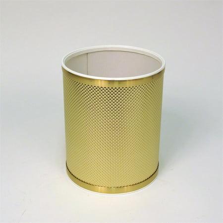 Bath Jewelry Diamond Pattern Round Vinyl Wastebasket, Gold/Gold (Budget Vinyl Round Wastebasket)